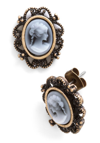 Like a Profile Earrings - Black, White, Print, French / Victorian, Gold, Good, 30s
