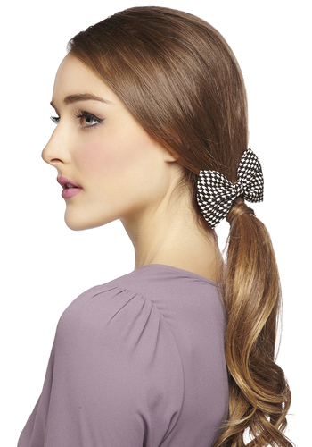 Darlin' Detail Hair Clip in Houndstooth - Black, White, Houndstooth, Good, Variation, Woven, Bows, Scholastic/Collegiate