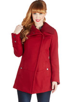 Diagonal Alley Coat in Red