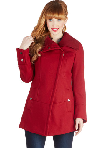 Diagonal Alley Coat in Red by Steve Madden - Red, Solid, Pockets, Long Sleeve, Exclusives, 3, Long, Red, Winter, Top Rated