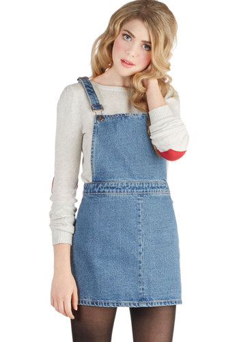 Good-natured Gabfest Skirt - Cotton, Denim, Woven, Blue, Solid, Buttons, Casual, 90s, Overalls, Good, Short, Vintage Inspired, Blue