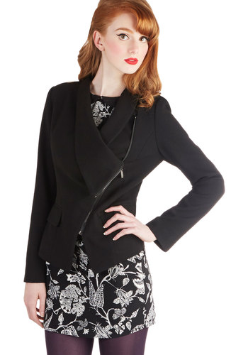 Milan a Roll Blazer in Black - Mid-length, Black, Solid, Long Sleeve, Exposed zipper, Black, 2