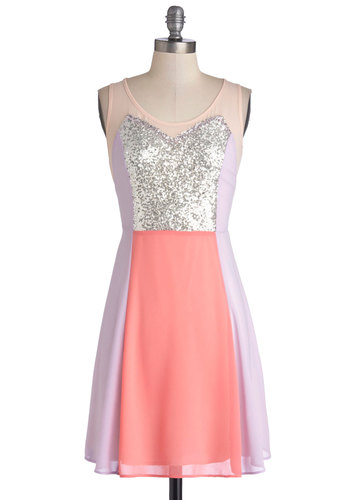 Fete Fantasy Dress - Purple, Pink, Silver, Coral, Sequins, Party, Colorblocking, A-line, Sleeveless, Good, Scoop, Pastel
