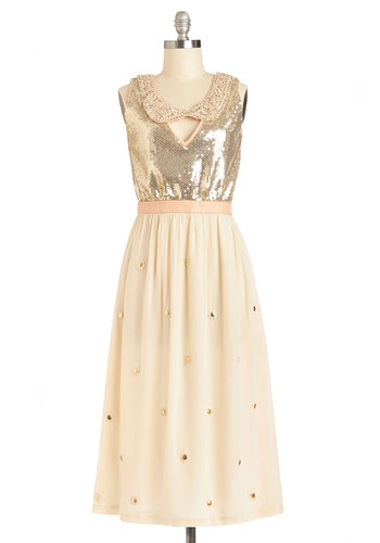 Lauren Moffatt Gold Lang Design Dress by Lauren Moffatt - Cream, Gold, Peter Pan Collar, Pockets, Sequins, Holiday Party, Sleeveless, Collared, Best, Party, Chiffon, Knit, Woven, Long, Leather, Luxe