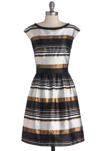 Layered in Luxe Dress - Black, Stripes, Glitter, Holiday Party, A-line, Cap Sleeves, Boat, Better, Bronze, Pockets, Rhinestones, Cocktail, White, Woven, Mid-length