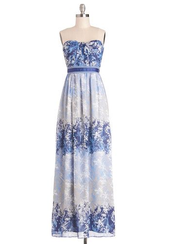 Moonscape Melodies Dress - Blue, Floral, Maxi, Strapless, Better, Grey, White, Chiffon, Woven, Long, Daytime Party, Empire