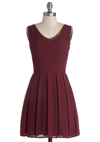 Festival of Delight Dress - Red, Solid, Beads, Party, A-line, Tank top (2 thick straps), Better, V Neck, Pleats, Chiffon, Knit, Woven, Short