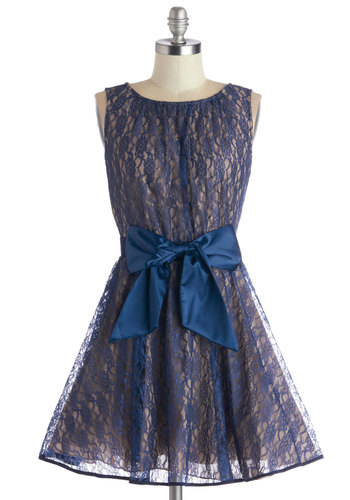 Golly Holiday Dress - Blue, Tan / Cream, Bows, Lace, Party, Sleeveless, Better, Scoop, Woven, Fit & Flare, Cocktail, Holiday Party