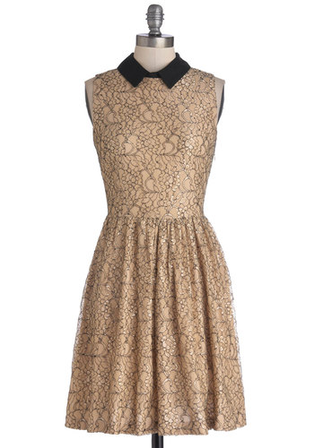 Dessert and Drinks Dress - Tan, Black, Lace, Party, A-line, Sleeveless, Better, Collared, Holiday Party, Knit, Woven, Mid-length, Lace