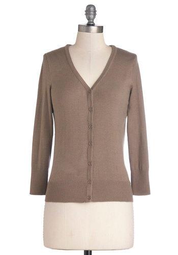 Charter School Cardigan in Taupe - Mid-length, Knit, Solid, Buttons, Scholastic/Collegiate, Button Down, 3/4 Sleeve, Good, V Neck, Tan, Work