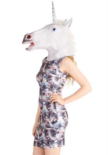 Mythical Feature Unicorn Mask - White, Quirky, Better, Print with Animals, Fairytale, Halloween, Guys