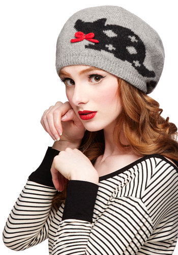 Skip to My Mew Hat - Grey, Red, Black, Print with Animals, Bows, Fall, Winter, International Designer, Knit, Cats