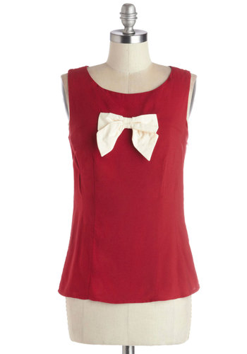 Radio Request Top - Woven, Mid-length, Red, White, Solid, Bows, Vintage Inspired, 60s, Sleeveless, Better, Scoop, Exclusives, Red, Sleeveless, Holiday Party, Valentine's, Party