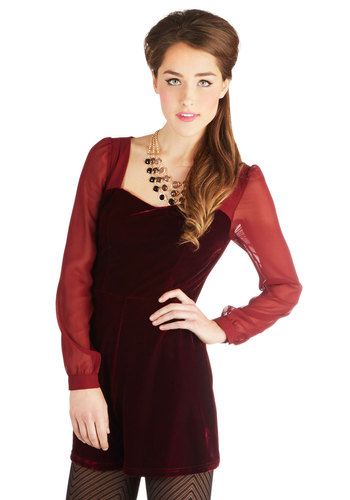 Diva Life to the Fullest Romper - Chiffon, Sheer, Red, Solid, Party, Holiday Party, Long Sleeve, Winter, Sweetheart, Long