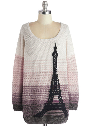 Paris Sunrise Sweater - Multi, Tan / Cream, Casual, Long Sleeve, Better, Knit, Long, Purple, Pink, Black, Grey, Novelty Print, Scoop, Multi, Long Sleeve