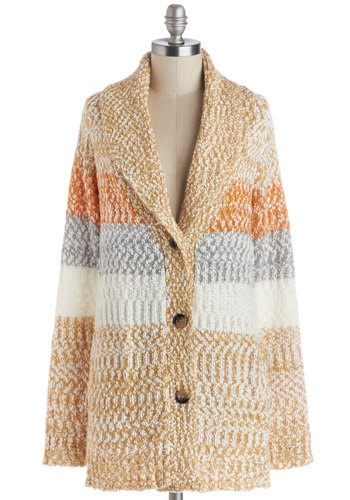 Flavor-ful of Life Cardigan - Tan, Orange, Stripes, Long Sleeve, Better, Knit, Grey, White, Buttons, Pockets, Casual, Fall, Winter, Collared, Multi, Long Sleeve