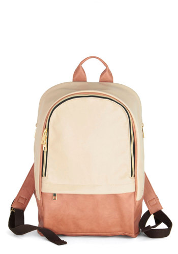 Hither and Zither Backpack - Pink, Cream, Black, Gold, Solid, Colorblocking, Scholastic/Collegiate, Better, Faux Leather, Travel