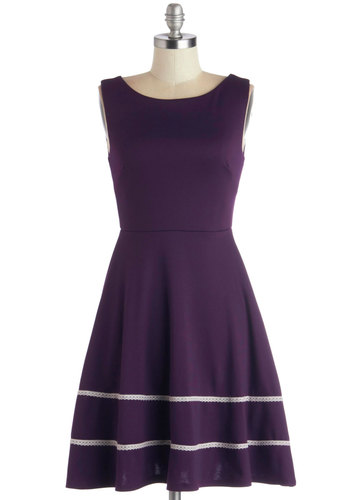 Fun-day Best Dress in Purple - Mid-length, Knit, Purple, White, Pockets, Casual, A-line, Sleeveless, Better, Scoop