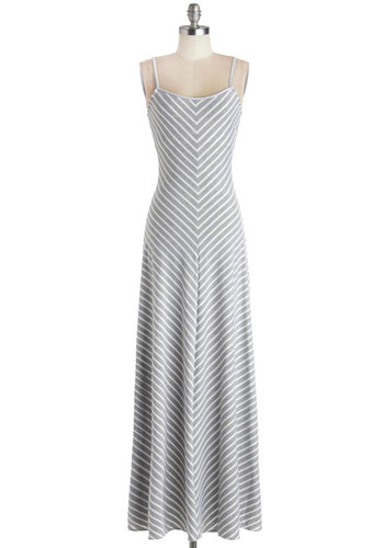 Extra Points Dress in Grey - Grey, Stripes, Casual, Maxi, Spaghetti Straps, Good, Long, Knit, White, Beach/Resort, Variation
