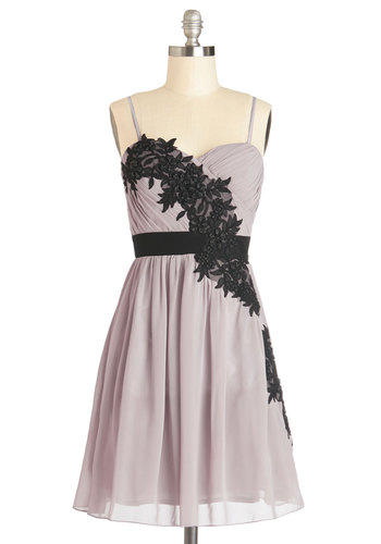 Bough Do You Do? Dress - Black, Solid, Prom, Party, A-line, Spaghetti Straps, Better, Chiffon, Woven, Purple, Flower, Ruching, Pastel, Sweetheart