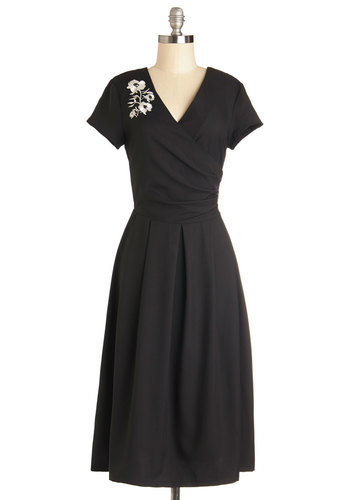 Demure All I Want Dress in Noir - Black, Embroidery, Cocktail, Vintage Inspired, 50s, A-line, Better, V Neck, Woven, White, 40s, Short Sleeves, Variation, Long