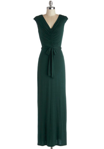 Make the Fest of It Dress in Pine - Knit, Long, Green, Solid, Belted, Ruching, Casual, Maxi, Cap Sleeves, Good, V Neck, Jersey