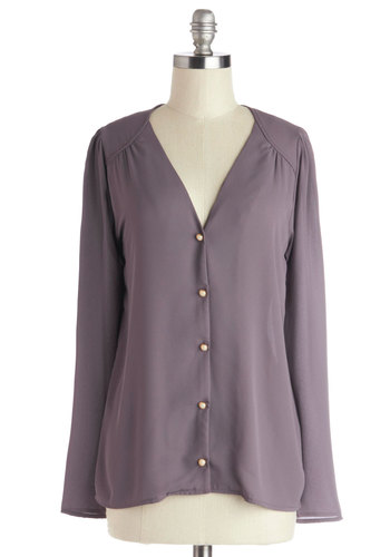 On the Rotary Again Top - Mid-length, Woven, Purple, Solid, Buttons, Work, Vintage Inspired, Button Down, Long Sleeve, V Neck, Purple, Long Sleeve