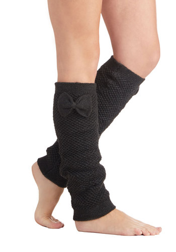 Snug Glee Leg Warmers - Knit, Grey, Solid, Bows, Casual, Fall, Winter, Better, Knitted
