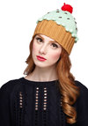 Sweet Getup Hat in Mint - Knit, Mint, Red, Tan / Cream, Poms, Kawaii, Better, Fall, Winter, Quirky, Variation