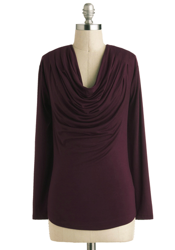 DELETE: Farm Sharing Is Caring Top in Beet - Mid-length, Jersey, Knit, Purple, Solid, Casual, Minimal, Long Sleeve, Cowl