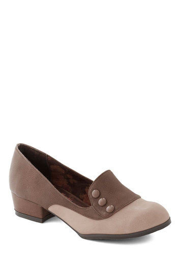 Art Walk Wonder Heel in Taupe by Bait Footwear - Low, Faux Leather, Solid, Buttons, 20s, 30s, Good, Work, Brown, Tan / Cream, Menswear Inspired, Vintage Inspired, Scholastic/Collegiate, Chunky heel, Variation
