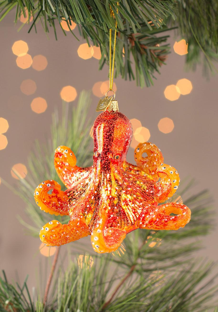 Beautiful orange octopus ornament