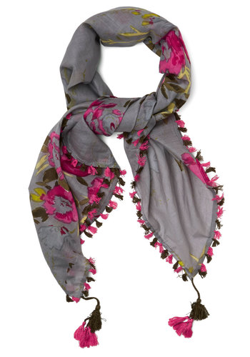 Fringe Fest Scarf in Grey - Cotton, Woven, Grey, Green, Pink, Floral, Fringed, Tassels, Folk Art, Better, Variation, Spring