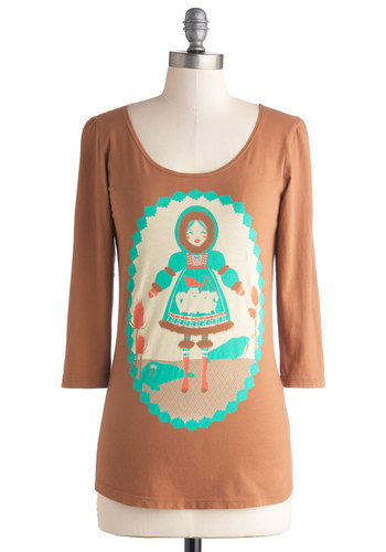 Winter Whimsy-land Top in Caramel - Tan, Novelty Print, Better, Mid-length, Cotton, Knit, Green, Casual, 3/4 Sleeve, Jersey, Scoop, Brown, 3/4 Sleeve
