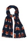 Mischief Maker Scarf in Navy by Disaster Designs - Cotton, Woven, Blue, Print with Animals, Casual, Better, Variation