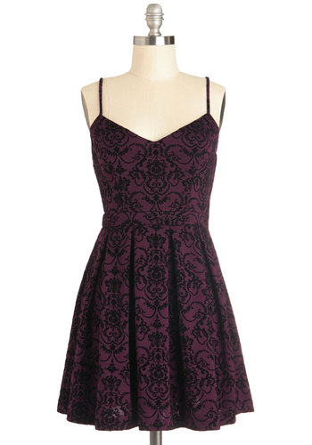 Set to Stun Dress - Short, Woven, Black, Print, Cutout, Pleats, Party, A-line, Spaghetti Straps, Good, Sweetheart, Purple, Holiday Party