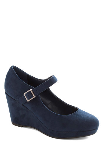 Big Winner Wedge - Mid, Faux Leather, Blue, Solid, Wedge, Mary Jane, Minimal