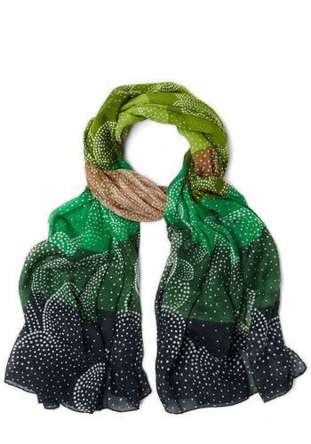 Concert Lights Scarf in Lawn - Woven, Green, Tan / Cream, White, Print, Better, Variation