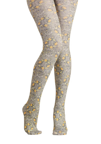 Party Planting Committee Tights by Blutsgeschwister - Grey, Multi, Floral, International Designer, Sheer, Knit