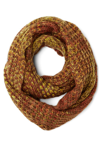 Seasonal Inspiration Circle Scarf in Autumn - Knit, Casual, Fall, Winter, Better, Variation, Basic, Orange, Yellow, Knitted