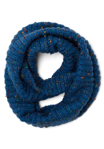 Pigments of My Imagination Circle Scarf in Blue - Knit, Blue, Multi, Solid, Fall, Winter, Variation, Casual, Basic
