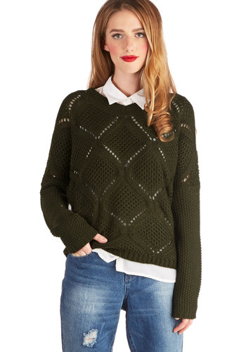 Pros and Conservation Sweater by Jack by BB Dakota - Mid-length, Sheer, Knit, Green, Solid, Casual, Long Sleeve, Fall, Winter, Scoop, Green, Long Sleeve