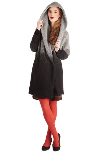 Night after Nightfall Coat by BB Dakota - Long, 2, Ombre, Pockets, Long Sleeve, Fall, Winter, Black, Multi