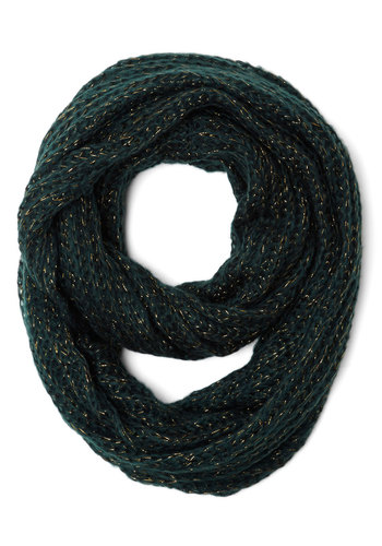 View from the Trees Circle Scarf - Knit, Green, Gold, Solid, Fall, Winter, Better, Knitted