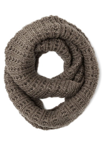 Chill in the Air Circle Scarf in Taupe - Knit, Grey, Solid, Casual, Fall, Winter, Better, Variation, Basic