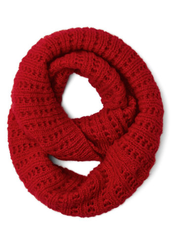Chill in the Air Circle Scarf in Red - Knit, Red, Solid, Fall, Winter, Better, Variation, Basic, Holiday