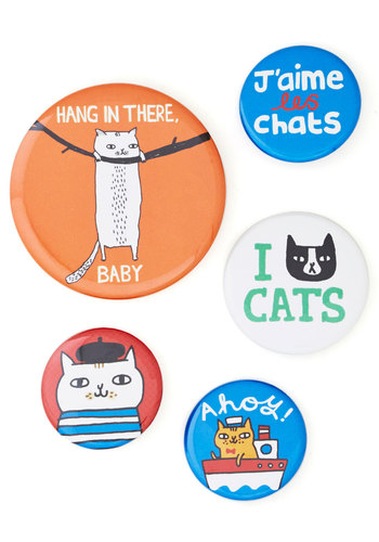 Chat's Out of the Bag Button Set - Multi, Cats, Good, Print with Animals