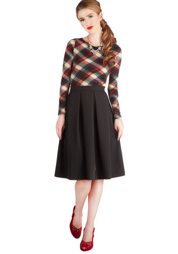 Office Envy Skirt by Myrtlewood - Private Label, Black, Solid, Work, Better, Black, Exclusives, Mid-length, Woven, Pleats, A-line, Fall, Winter