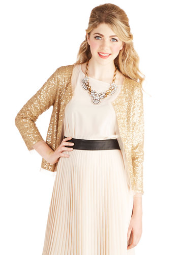 Sparkling Winery Jacket - Short, Woven, 1, Gold, Solid, Sequins, Special Occasion, Wedding, Party, Cocktail, Luxe, Long Sleeve, Gold, Holiday Party