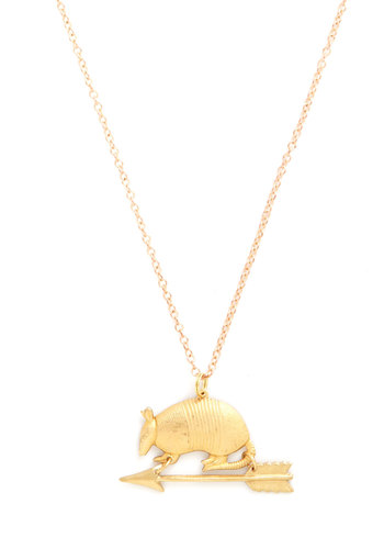 What's the Armadillo? Necklace - Print with Animals, Gold, Better